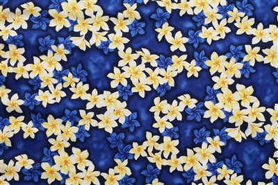Blue Plumeria Cotton Hawaiian Fabric