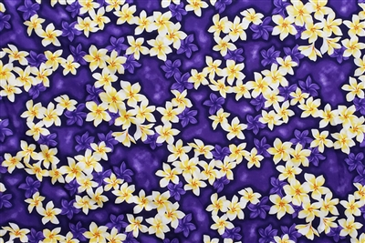 Purple Plumeria Cotton Hawaiian Fabric