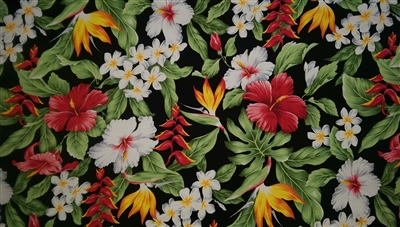Floral Hawaiian Garden Cotton Fabric