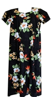 Womens black mid-calf length Hawaiian muumuu dress with orange bird of paradise flowers and white hibiscus flowers allover