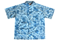 Mens blue Hawaiian shirt with a distressed leaf and flower design, in a all-over print