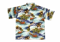 Men's blue colored Mauna Loa Hawaiian shirt with outrigger canoes and a allover Hawaiian island theme