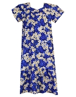 Blue Hawaiian muumuu with white and yellow plumeria flowers and silhouetted blue plumeria in the background.