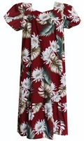 Womens maroon colored mid-calf Hawaiian muumuu dress with cereus flowers and tropical foliage