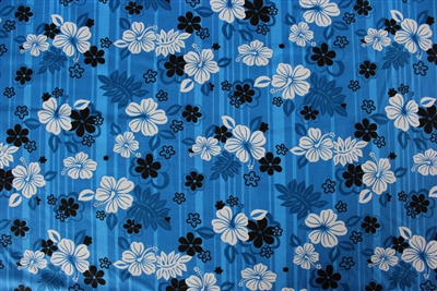 Blue PolyCotton Hawaiian Fabric