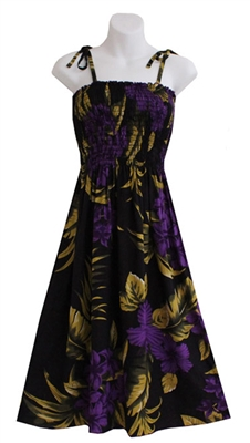 Short Hawaiian print summer dress with purple hibiscus flowers with bronze colored palm leaf and monstera leaf on black fabric