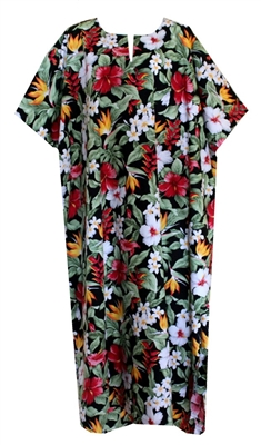 Womens Hawaiian print kaftan with multi color tropical flowers and foliage allover