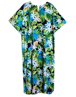 Hawaiian print Kaftan contains jungle flowers, fronds and multicolored leaves on a navy blue fabric.