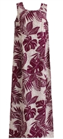 Womens long eggplant (purple) Hawaiian tank dress with a zippered back and a allover tropical leaf print