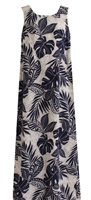 Womens long indigo (blue) Hawaiian tank dress with zippered back and a allover tropical leaf design