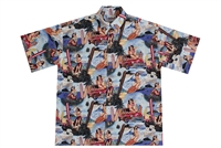 Mens Hawaiian shirt with pin-up surfer girls sitting on red Woodie cars