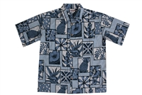 Mens blue Hawaiian shirt with pineapples, symbols, leaf, and hibiscus flowers