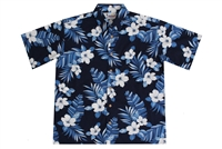 Allover print mens navy blue Hawaiian shirts with hibiscus flowers and fronds