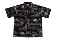 Mens black Hawaiian shirt with colorfull hot rod cars and 50s diners