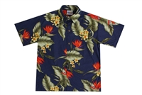 Mens Hawaiian shirt with orange bird of paradise flowers and green banana leaf in a all over print