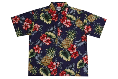 Blue mens Hawaiian shirt with large pineapples, fronds, and red hibiscus flowers