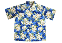 Blue mens Hawaiian shirt with white and yellow plumeria flowers, in a allover design.