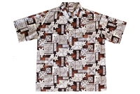 Brown mens Hawaiian shirt with sea turtles and Polynesian symbols