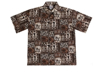 Wave Shoppe Mens Brown Tapa Hawaiian Shirt