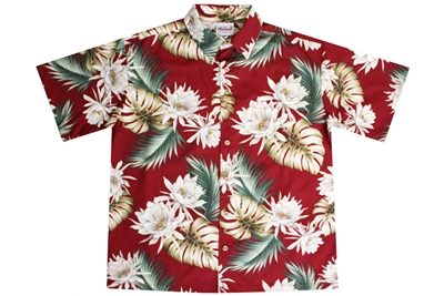 Mens red Hawaiian shirt with white Cereus flowers and green foliage