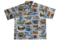 Wave Shoppe Mens Hawaiian Shirt with California Landmarks