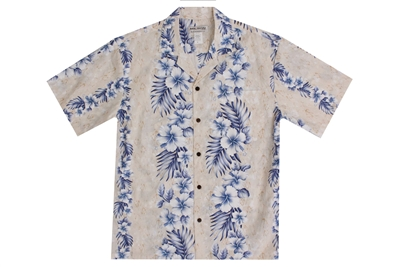 Mens cream Aloha shirt with a marble pattern and hibiscus flowers