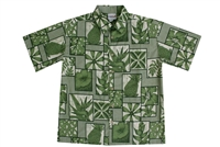 Mens green Hawaiian shirt with pineapples, hibiscus flower and bird of paradise flowers and symbols