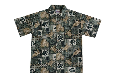 Green mens Hawaiian shirt with golden colored sea turtles, Polynesian symbols, and canoes in a block print
