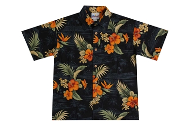 Mens Maui Hawaiian shirt with mango colored hibiscus flowers and green fronds