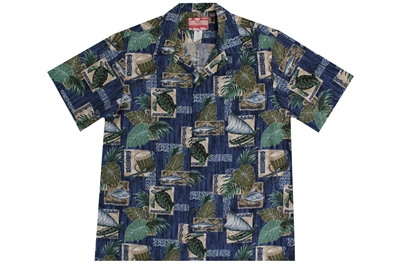 Mens North Shore Hawaiian shirt with outrigger canoes and fish