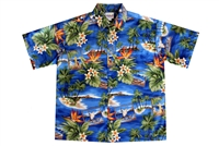 Mens blue Hawaiian shirt depicting the island of Oahu. Includes images of canoes, bird of paradise flowers and Hawaiian islands.