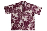 Wave Shoppe Mens Rayon Hawaiian Shirt with Polynesian Designs
