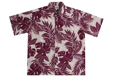 Men's eggplant colored rayon Hawaiian shirt with leafs inset with Polynesian tattoo designs