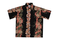 Mens black rayon Hawaiian shirt with vertical bands of golden pineapples and red coral flowers