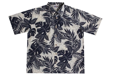 Mens rayon Hawaiian shirt with indigo colored fronds and Polynesian designs