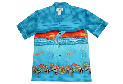 KY's mens Aloha shirt with sea life and a beautiful sunset depicted on the front and back of the shirt