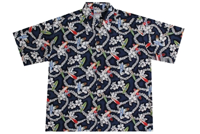 Wave Shoppe Mens Floral Hawaiian Shirt with Surfboards