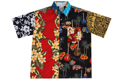 Mens multicolor and multi design patchwork Hawaiian shirts, affectionately named ugly Hawaiian shirts