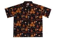 Black mens wine themed Hawaiian shirt with corks, casks and wine bottles