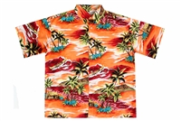 Men's orange colored Mauna Loa Hawaiian shirt with outrigger canoes and a allover Hawaiian island theme