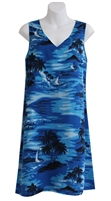 Blue V-neck Hawaiian tank dress with scenic Hawaiian islands, outrigger canoes, and palm trees on the island