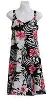 Hawaiian sundress with red hibiscus flowers, white palm fronds and a flounce hem on black fabric
