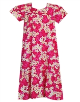 Pink Hawaiian muumuu with white and yellow plumeria flowers and silhouetted pink plumeria in the background.