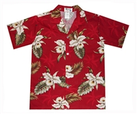 Boys red Hawaiian shirt with white orchid flowers in a allover print