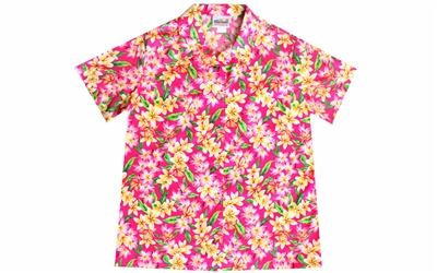 Womens pink Hawaiian shirt with pink as well as yellow Plumeria flowers in an allover print
