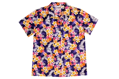 Womens purple Hawaiian shirt with garlands of yellow, pink, white, and red flowers