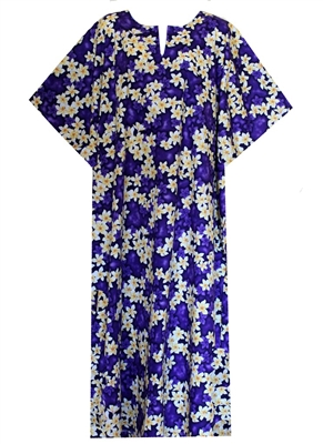 Womens mid-calf length purple Hawaiian print Kaftan with white plumeria flowers allover