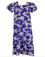 Royal purple Hawaiian muumuu with white and yellow plumeria flowers and silhouetted purple plumeria in the background.