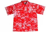 Mens red Hawaiian shirt with outrigger canoes, wahine, hibiscus flowers, Hawaii islands, and palm trees.