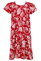 Wave Shoppe Mid-Calf Red Ginger Hawaiian Muumuu Dress